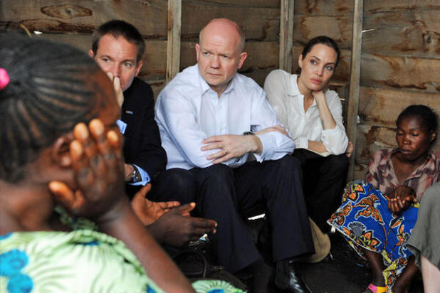 Angelina Jolie with William Hague in Africa