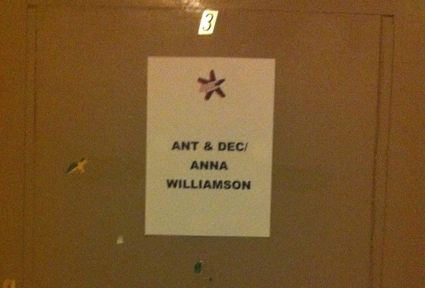 Anna Williamson, Ant and Dec's dressing room.