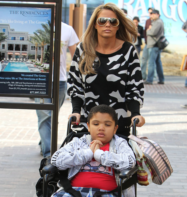 Katie Price with her son Harvey shopping at The Grove Shopping Mall in Los Angeles.