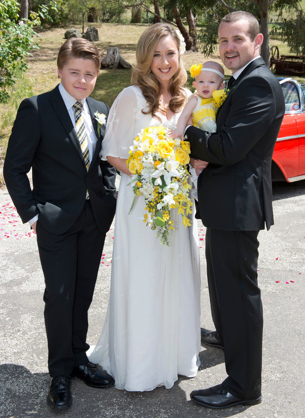Callum and Nell celebrate the marriage of Toadie and Sonya