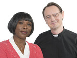 Steven Elder and Lorna Laidlaw as Reverend Gordon Clement and Mrs Tembe in Doctors