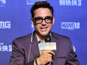 Robert Downey Jr speaks at the &#39;Iron Man 3&#39; promotional event, Beijing, China.