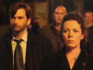 David Tennant as Alec Hardy, Olivia Colman as Ellie Miller, Andrew Buchan as Mark Latimer, Jodie Whittaker as Beth Latimer, Charlotte Beaumont as Chloe Latimer and Susan Brown as Liz Roper in 'Broadchurch' Episode 5