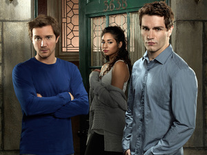 Sam Huntington as Josh, Meaghan Rath as Sally, Sam Witwer as Aidan in Being Human USA