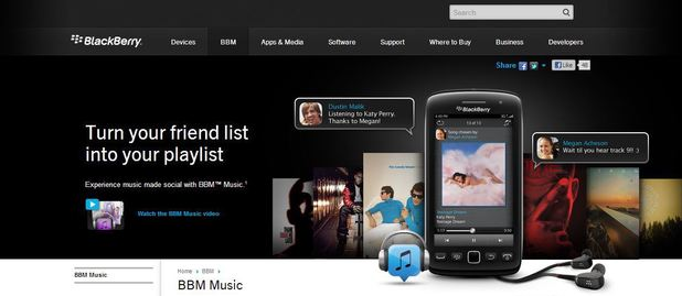 BlackBerry Music website screenshot