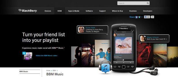 BlackBerry Music website screenshot