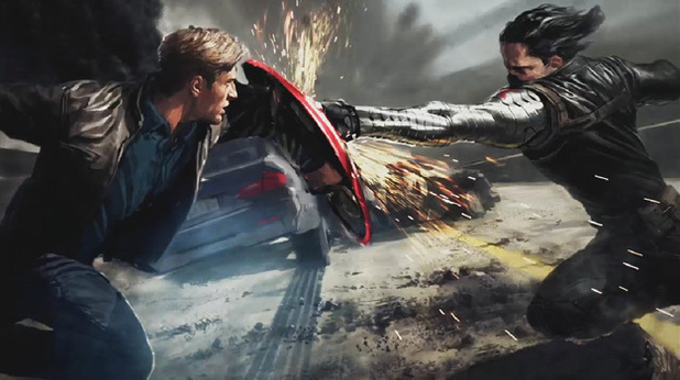 Captain America battles the Winter Soldier