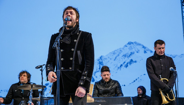 Kasabian headlining an intimate gig at the top of a mountain in the Barclaycard Arctic Disco at Snowbombing 2013