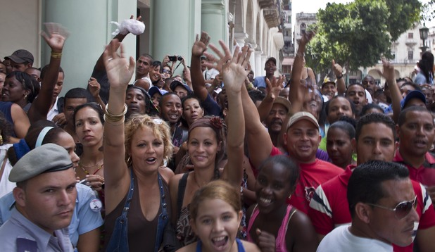 Fans wait outside their hotel for a glimpse of Beyonce and Jay-Z