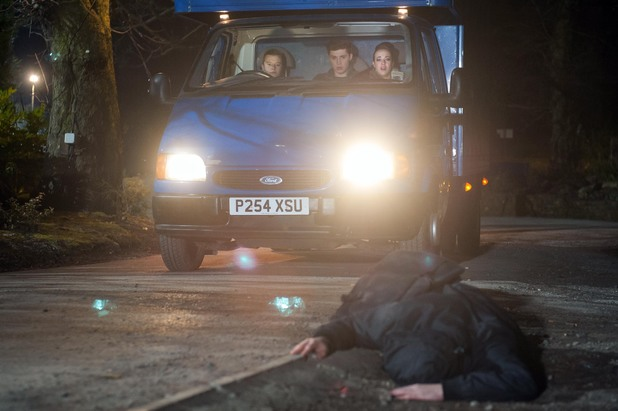 Robbie, Callum and Sinead hit someone with the truck.