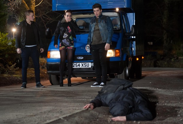 Robbie, Callum and Sinead get out of the truck to see who they have hit.