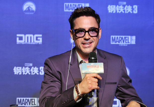 Robert Downey Jr speaks at the 'Iron Man 3' promotional event, Beijing, China.