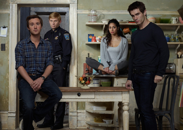 Sam Huntington as Josh, Mark Pellegrino as Bishop, Meaghan Rath as Sally, Sam Witwer as Aidan in Being Human USA