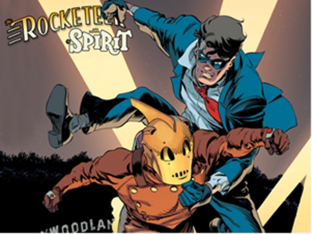 Artwork from The Rocketeer/The Spirit: Pulp Friction crossover