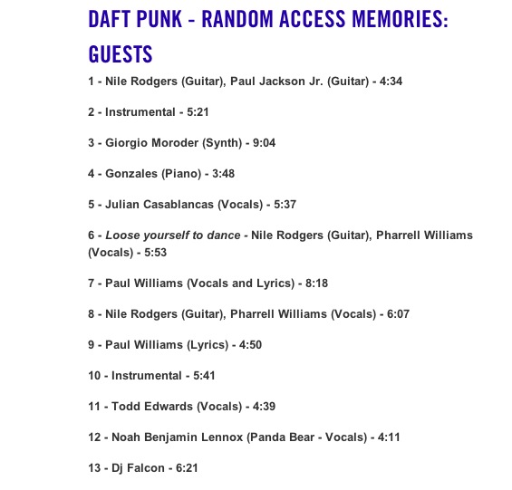 Daft Punk - rumoured album collaborations