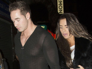Katie Price, Keiran Hayler, Cafe de Paris, London, sheer top, leather trousers