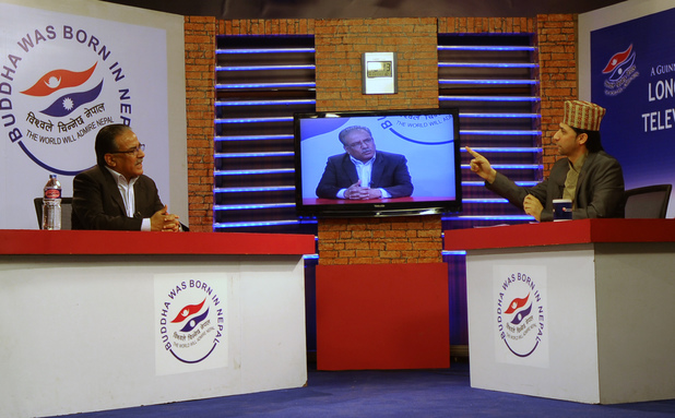 Rabi Lamichhane hosting the world's longest talkshow