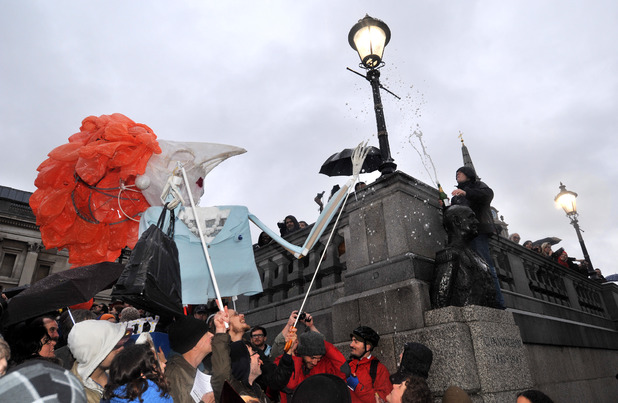Margaret Thatcher 'death party' takes place in Trafalgar Square