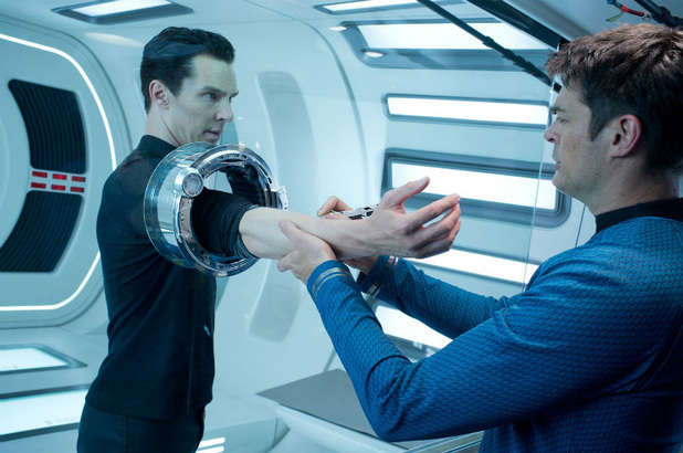 Benedict Cumberbatch as John Harrison and Karl Urban as Bones in 'Star Trek Into Darkness'.