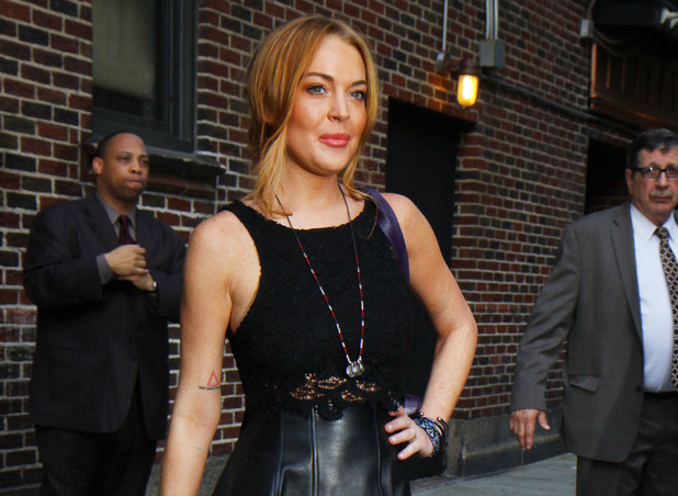 Lindsay Lohan, Late Show with David Letterman, New York, leather skirt