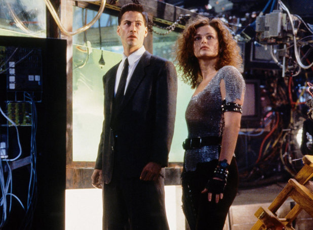 Keanu Reeves and Dina Meyer in 'Johnny Mnemonic'