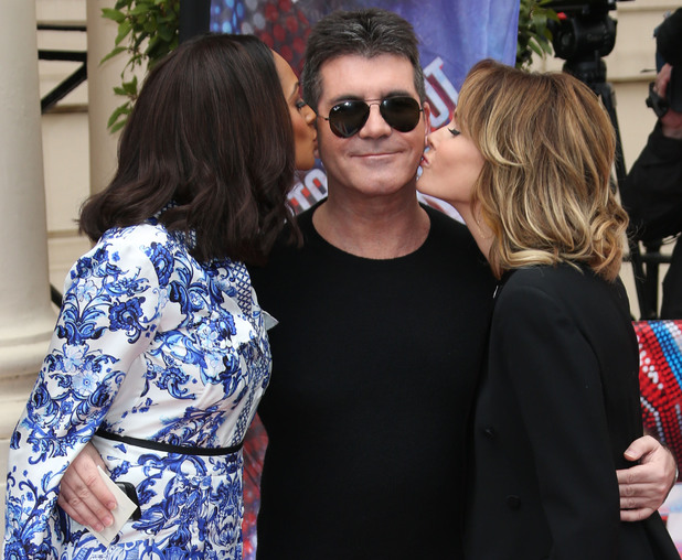 Alesha Dixon and Amanda Holden kiss Simon Cowell at the press launch for the new series of 'Britain's Got Talent' on 11 April 2013