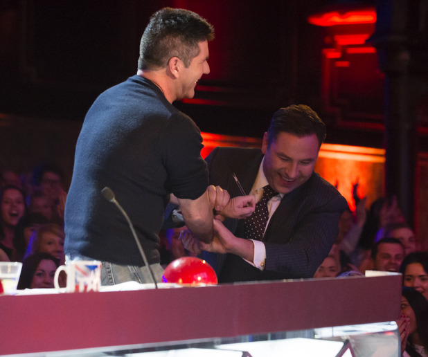 David Walliams coaxes Simon Cowell into joining Keri on stage on Britain's Got Talent