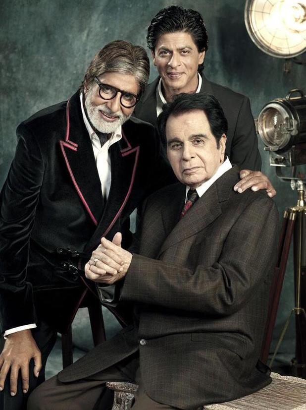 Amitabh Bachchan, Shah Rukh Khan, and Dilip Kumar pose for Filmfare Centenary cover