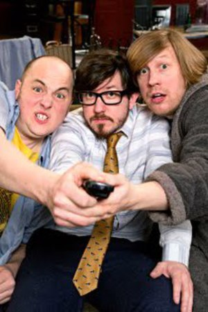 Three-man comedy act Pappy's in BBC Three sitcom 'Badults'.