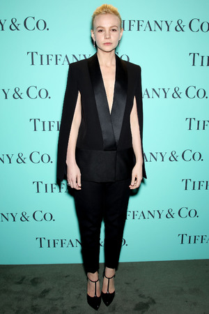 Carey Mulligan, Tiffany and Co. Blue Book Ball, tuxedo, plunging suit