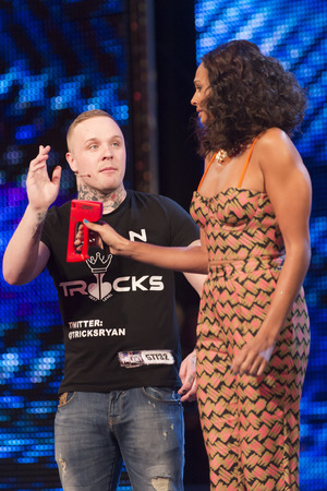 Alesha Dixon joins magician Ryan Tricks on stage on Britain's Got More Talent