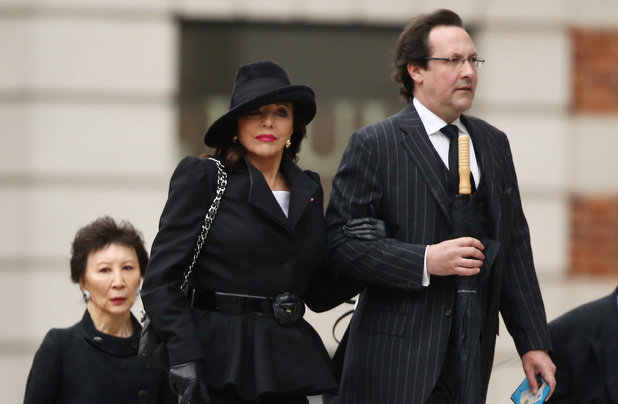 Joan Collins arrives for the funeral service of Baroness Thatcher, at St Paul's Cathedral