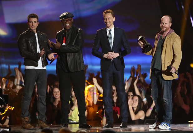 MTV Movie Awards 2013: Chris Evans, Samuel L Jackson, Tom Hiddleston and Joss Whedon accept the 'Best Film' award for 'The Avengers'