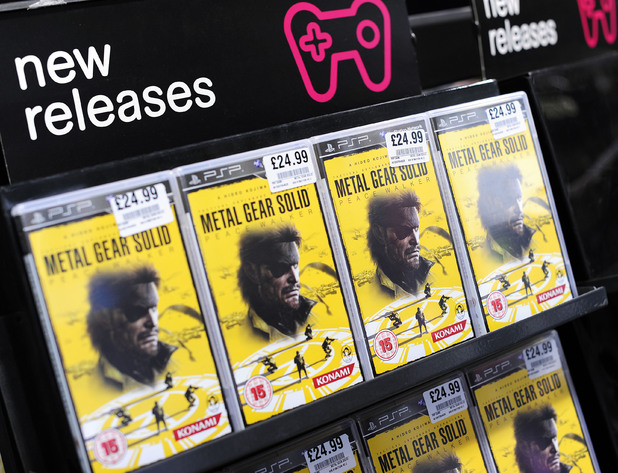 Copies of the game pictured at the launch of Metal Gear Solid Peacewalker, at HMV on Oxford St in central London