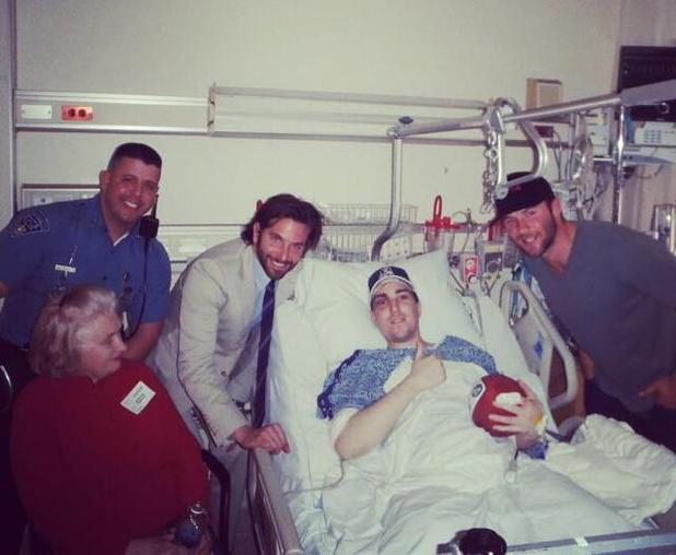 Bradley Cooper and Julian Edelman visit Boston survivor Jeff Bauman