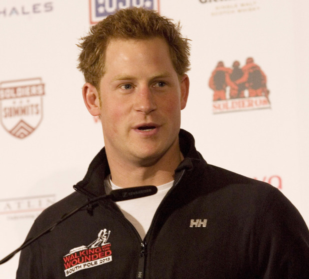 Prince Harry speaks to the media during the launch event of the Walking With The Wounded South Pole Allied Challenge 2013 at the Mandarin Oriental Hotel, London.