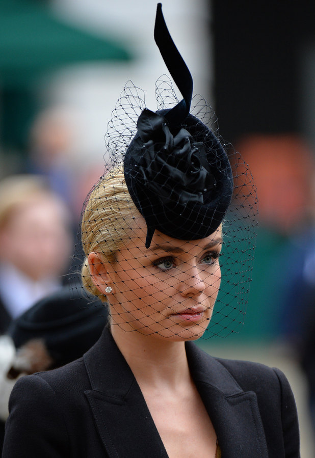 Katherine Jenkins arrives for the funeral service of Baroness Thatcher, at St Paul's Cathedral