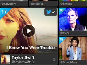 A screenshot of Twitter #music on iOS