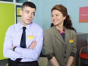 Trish (Sarah Hadland) and Karl (Russell Tovey) in 'The Job Lot' Episode 1