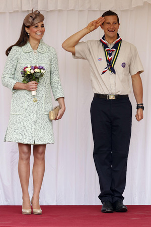 Duchess of Cambridge, Mulberry coat, National Review of Queen's Scouts, Chief Scout Bear Grylls