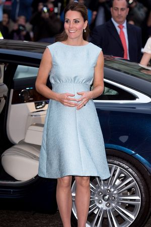Duchess of Cambridge, Kate Middleton, National Portrait Gallery, baby bump, Emilia Wickstead dress, Jon Snow