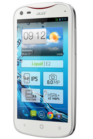 Acer Liquid E2 smartphone in Pearl White