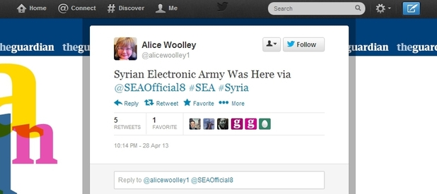Screenshot of Guardian Education editor Alice Woolley's hacked Twitter account