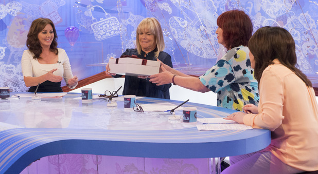 Carol Vorderman is given flat shoes on 'Loose Women'