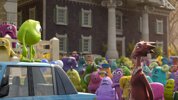 Mike Wazowski and Dean Hardscrabble in Monsters University