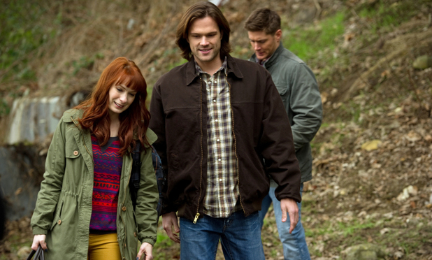 Felicia Day as Charlie, Jared Padalecki as Sam and Jensen Ackles as Dean in Supernatural S08E20: 'Pac-Man Fever'