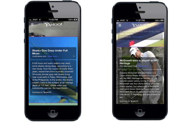 Yahoo's new native iOS app
