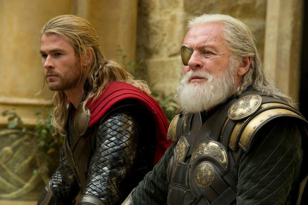 Chris Hemsworth as Thor and Anthony Hopkins as Odin in 'Thor: The Dark World'