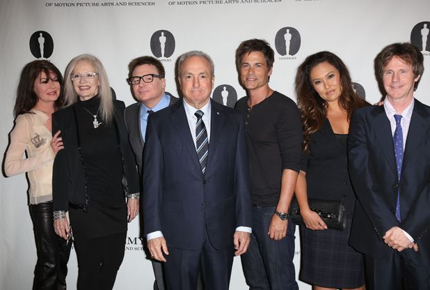 Lara Flynn Boyle, Penelope Spheeris, Mike Myers, Lorne Michaels, Rob Lowe, Tia Carrere and Dana Carvey, 'Wayne's World' film reunion