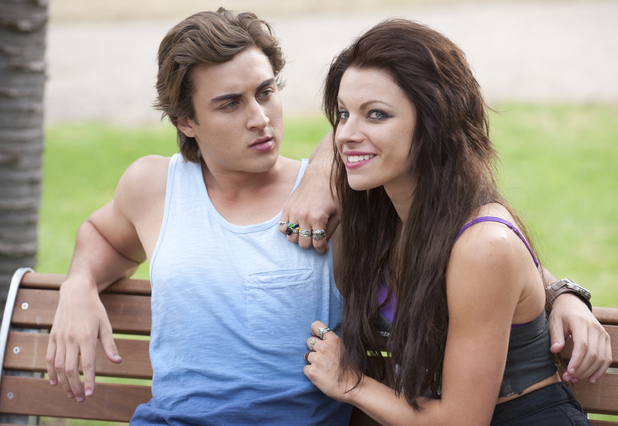 Mason flirts with his ex-girlfriend Rhiannon.